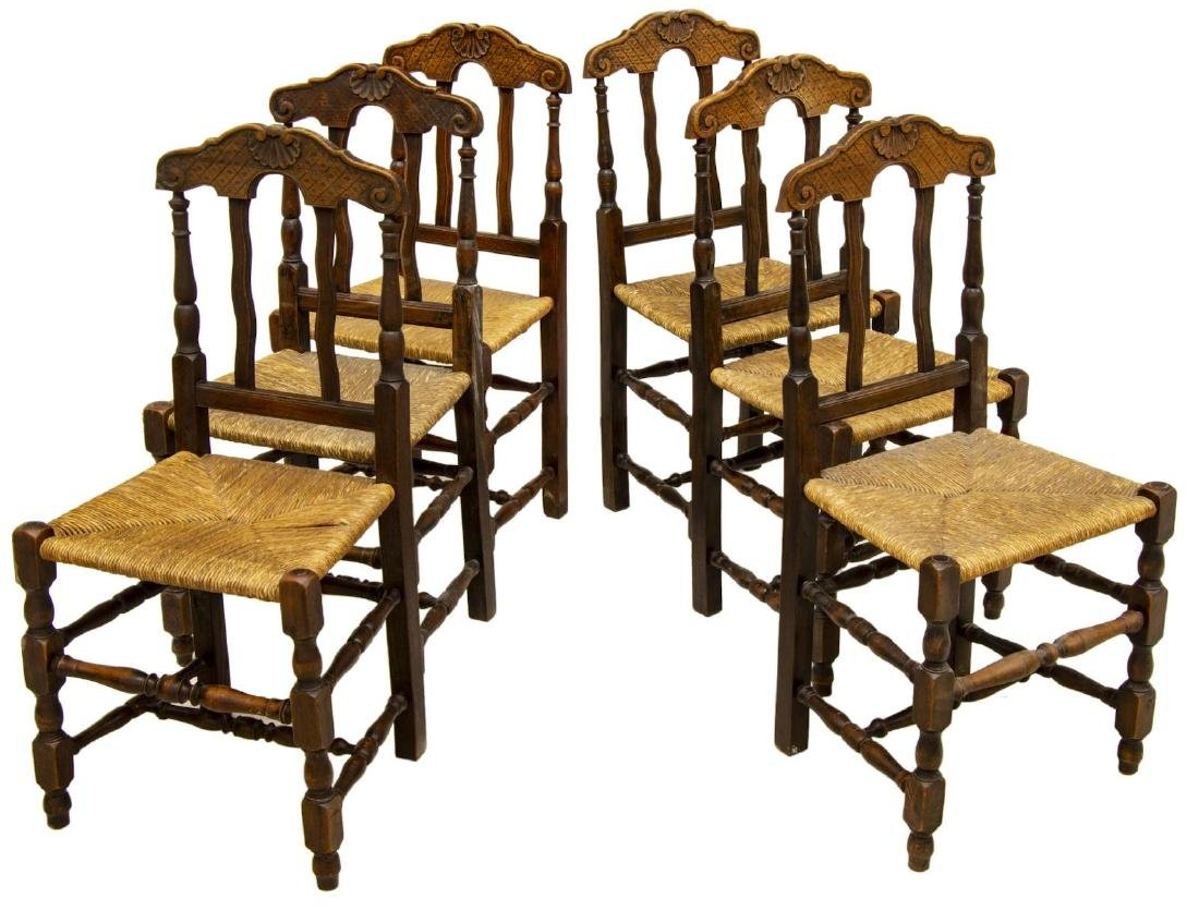 (6) LOUIS XV STYLE BEECHWOOD RUSH SEAT SIDE CHAIRS