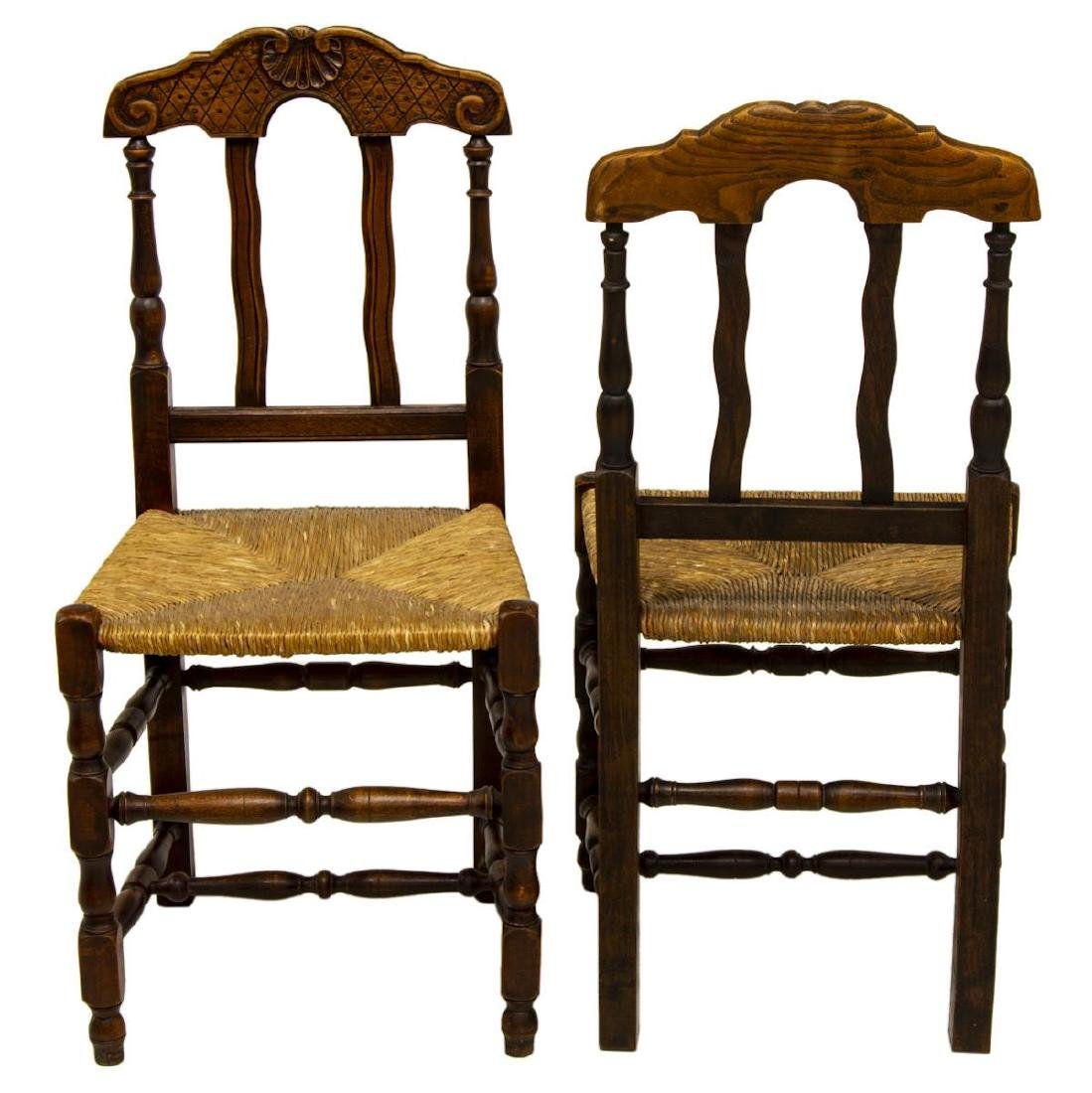 (6) LOUIS XV STYLE BEECHWOOD RUSH SEAT SIDE CHAIRS - 2
