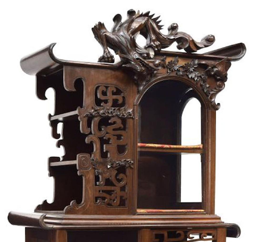 ROSEWOOD DRAGON CARVED DISPLAY CABINET - 2