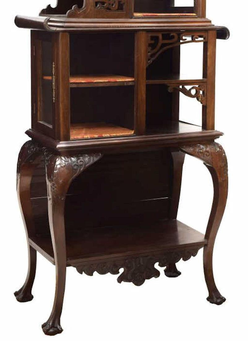 ROSEWOOD DRAGON CARVED DISPLAY CABINET - 3