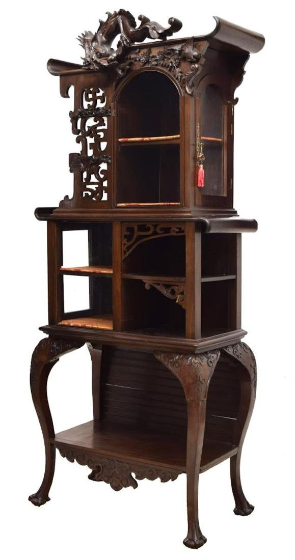 ROSEWOOD DRAGON CARVED DISPLAY CABINET - 4