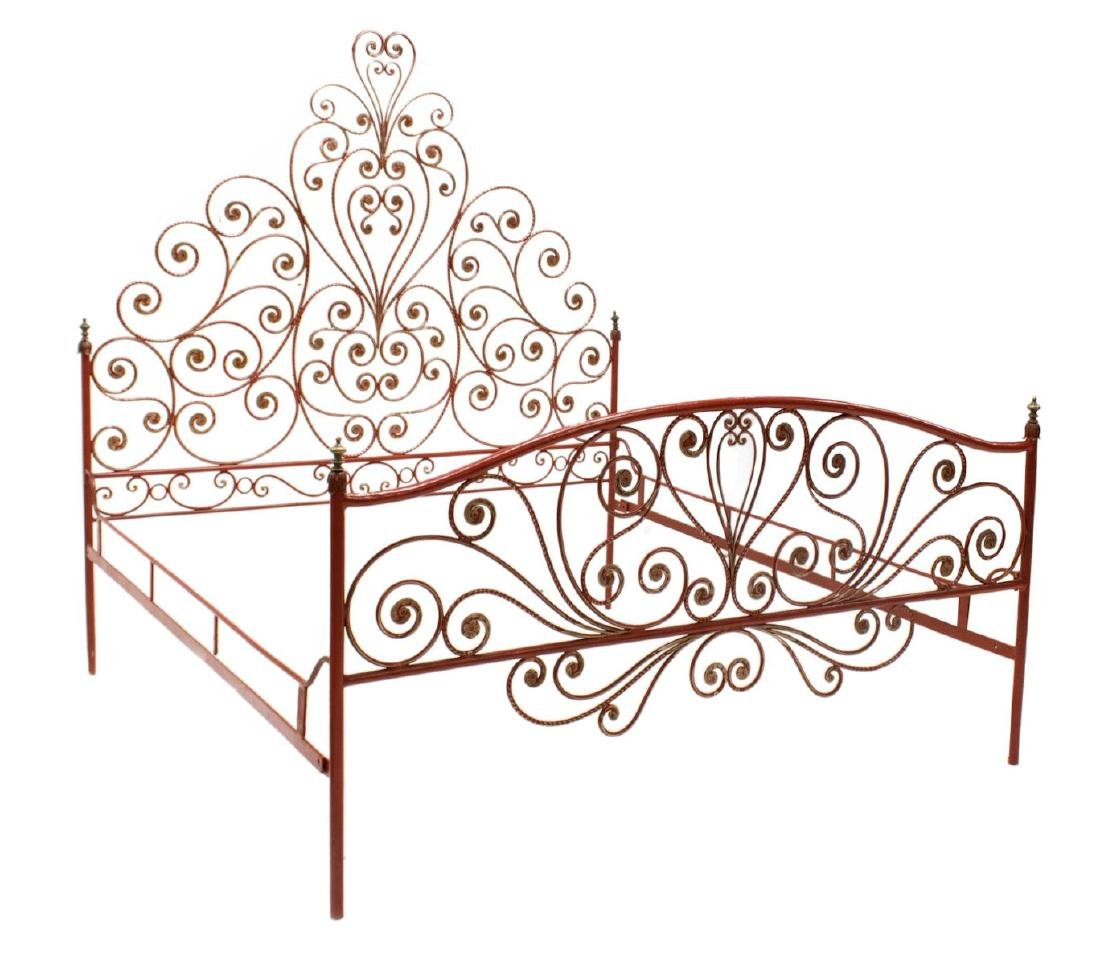 ITALIAN PEACOCK PAINTED IRON BED