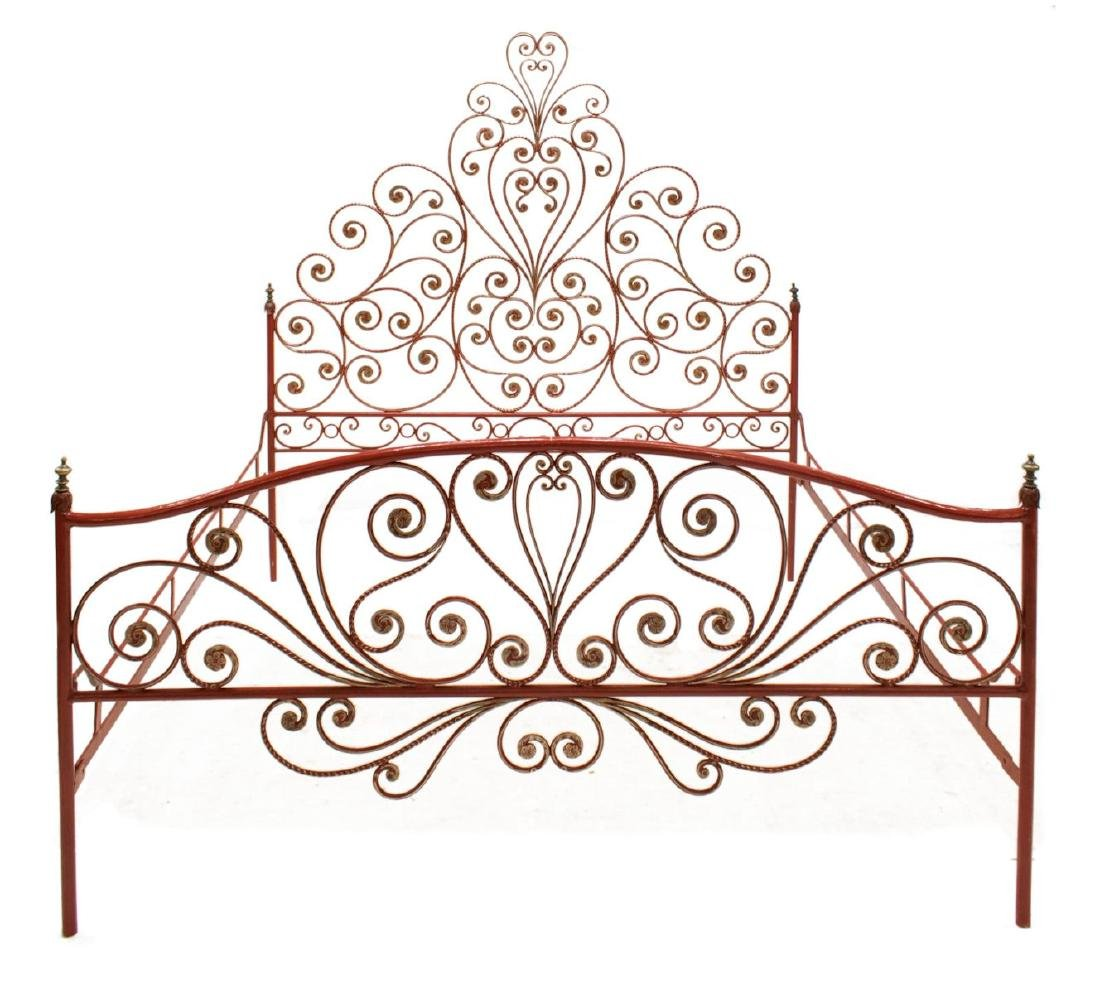 ITALIAN PEACOCK PAINTED IRON BED - 2