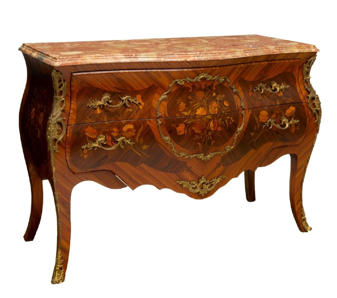 FRENCH LOUIS XV STYLE MARQUETRY BOMBE COMMODE