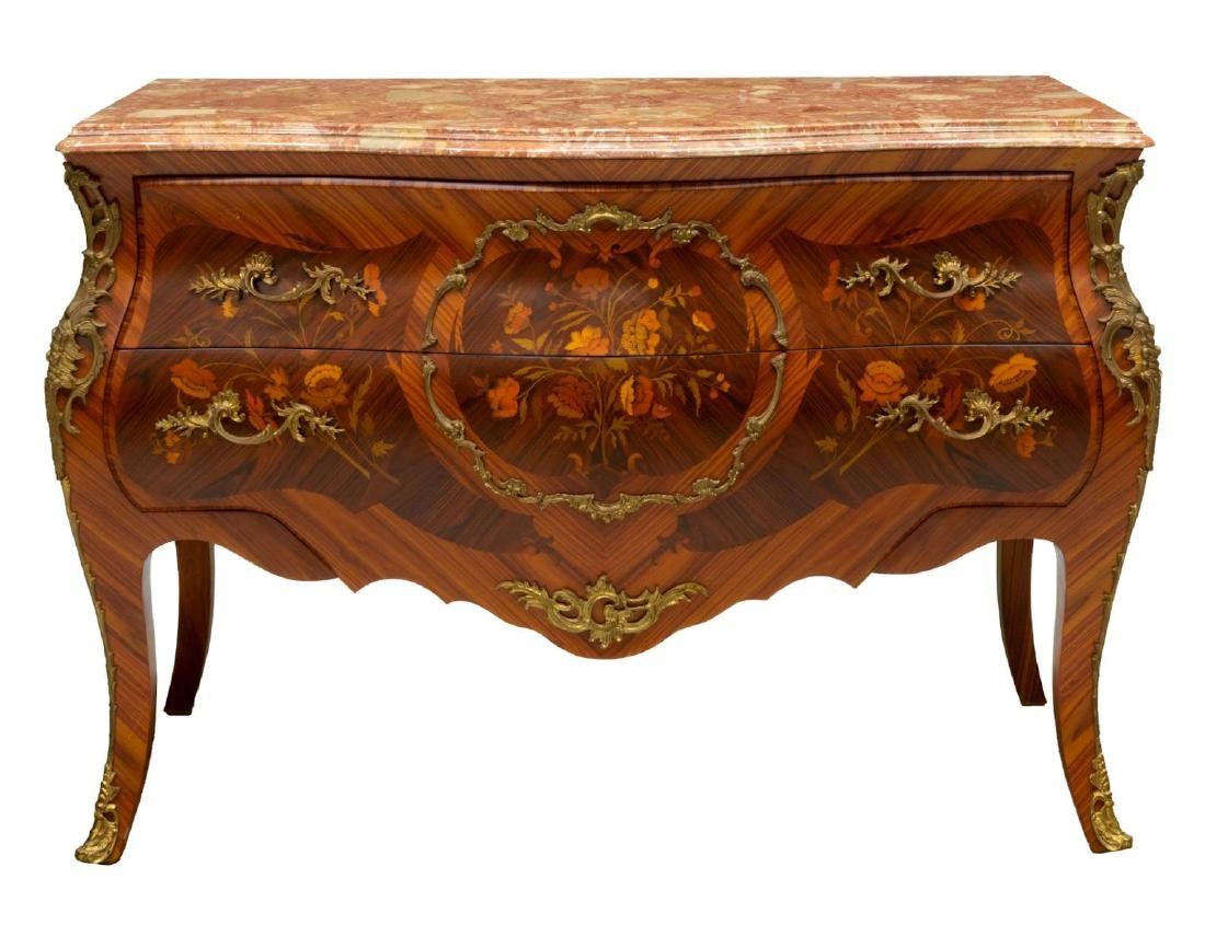 FRENCH LOUIS XV STYLE MARQUETRY BOMBE COMMODE - 2