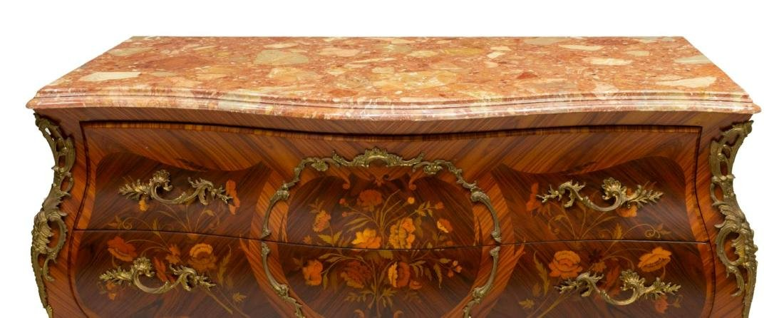 FRENCH LOUIS XV STYLE MARQUETRY BOMBE COMMODE - 3