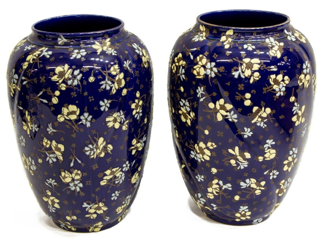 (PAIR) FRENCH LUNEVILLE COBALT ART POTTERY VASES