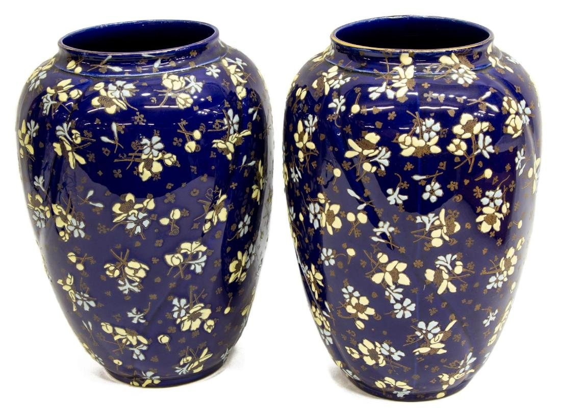 (PAIR) FRENCH LUNEVILLE COBALT ART POTTERY VASES - 2