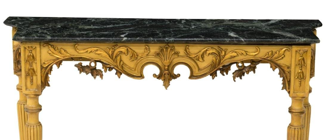 LOUIS XVI STYLE GREEN MARBLE TOP CONSOLE TABLE - 2