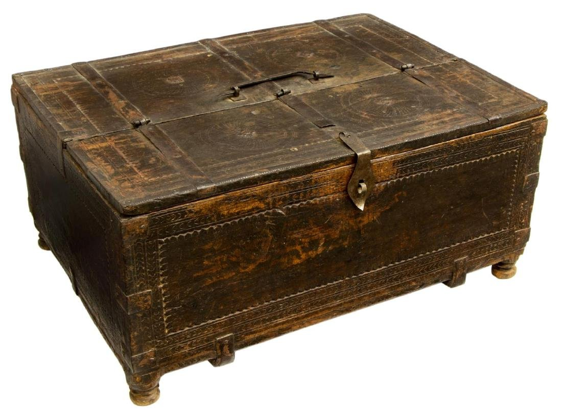 SPANISH WORK BOX WITH IRON STRAPPING 18TH/19TH C.