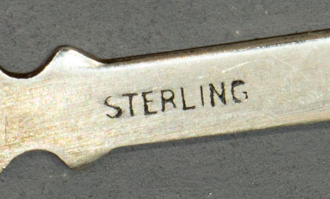 (LOT) STERLING ENAMEL ROOSTER PICKS & SILVER SALTS - 3