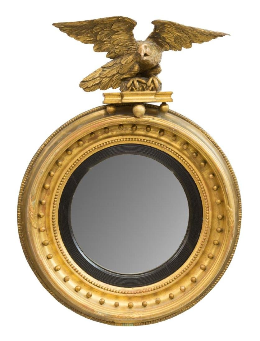 FEDERAL STYLE GILTWOOD EAGLE CONVEX WALL MIRROR