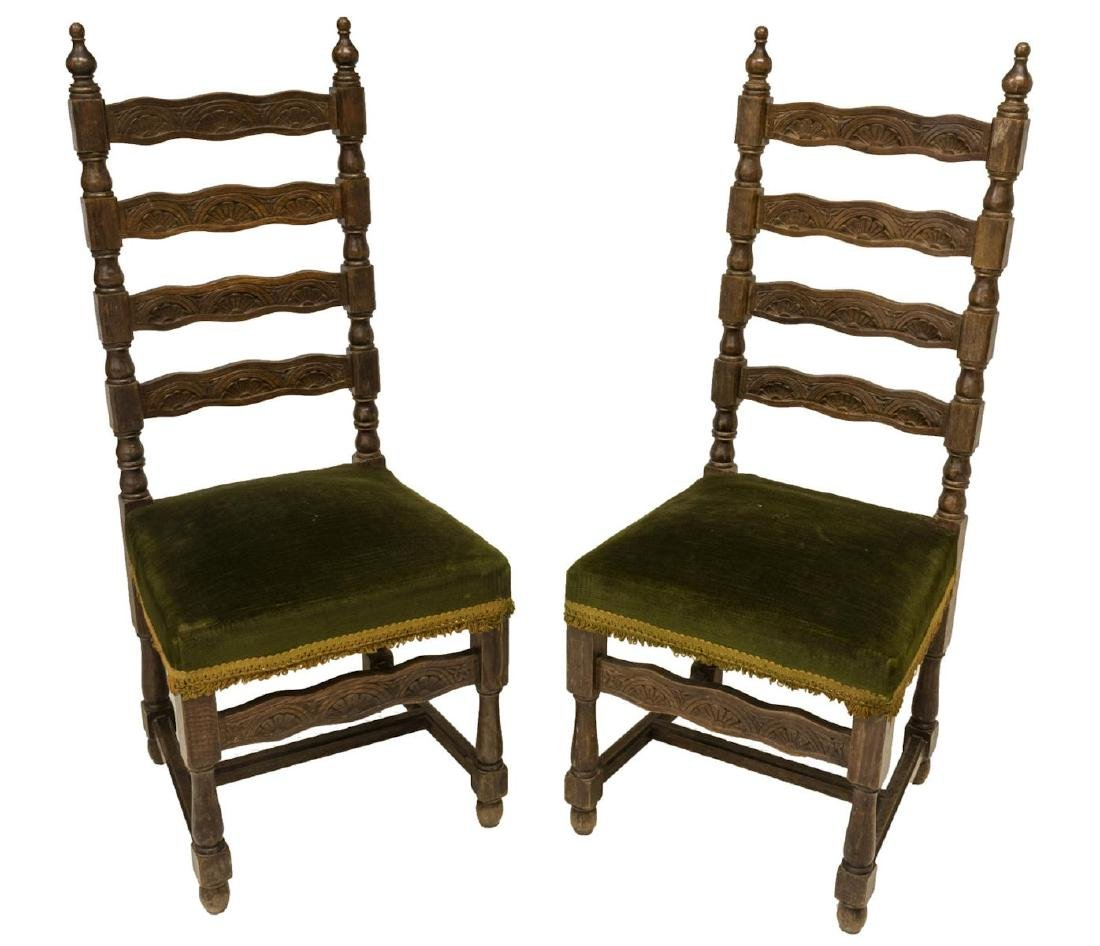 (2) SPANISH BAROQUE STYLE UPHOLSTERED CHAIRS