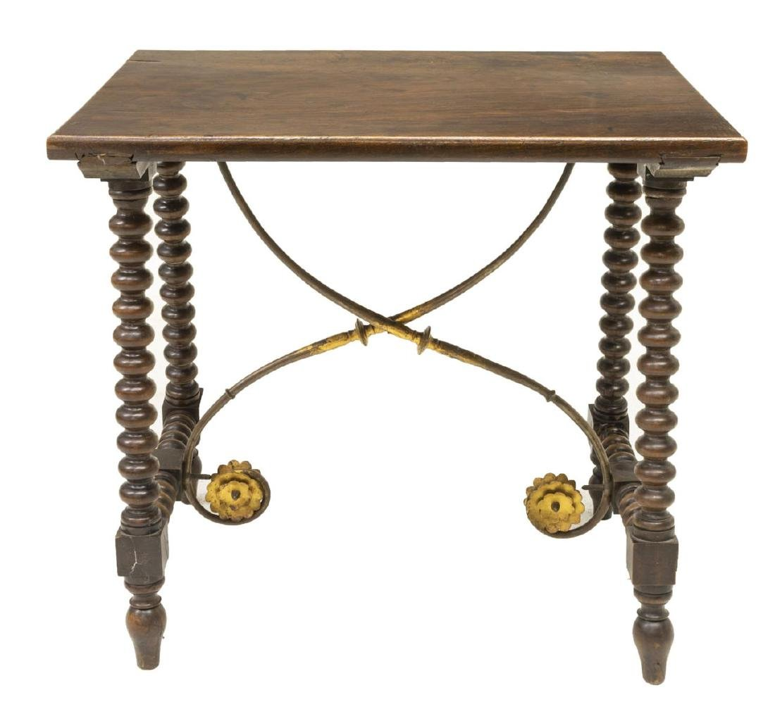 SPANISH BAROQUE STYLE WOOD & GILT IRON SIDE TABLE