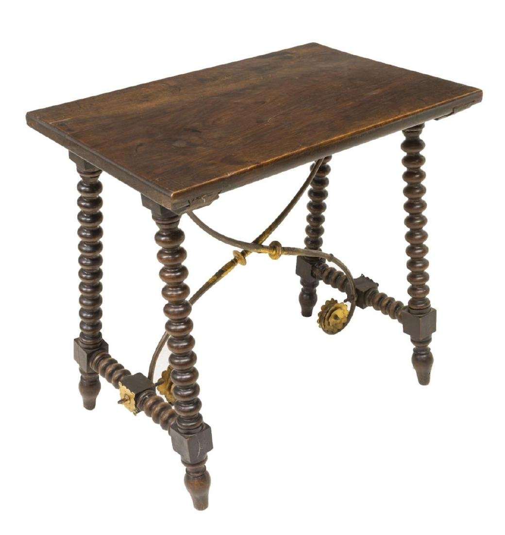 SPANISH BAROQUE STYLE WOOD & GILT IRON SIDE TABLE - 2