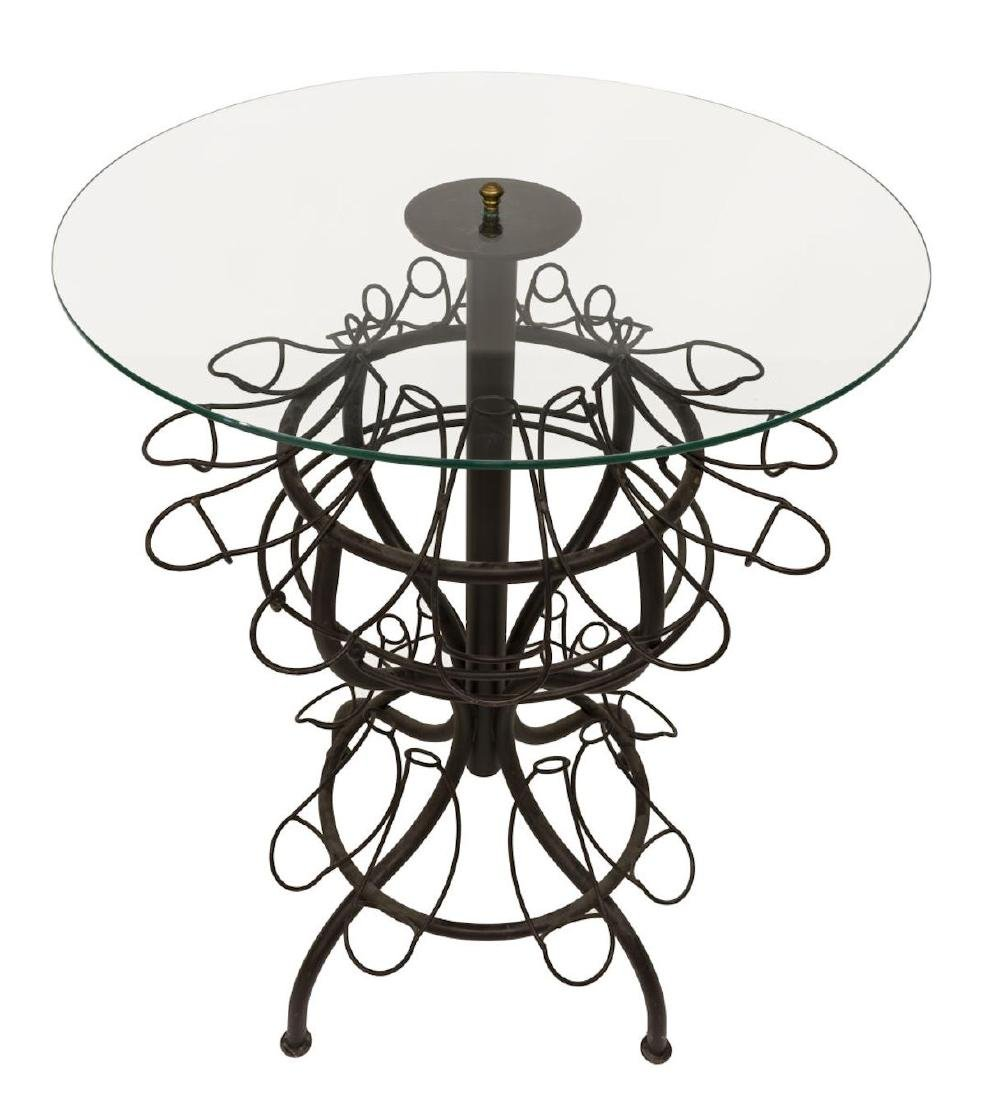 French Iron Standing Wine Bottle Holder Table