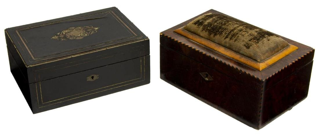 (2) ANTIQUE CONTINENTAL INLAID SEWING BOXES