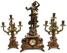 (3) FRENCH FIGURAL MARBLE MANTEL CLOCK SET