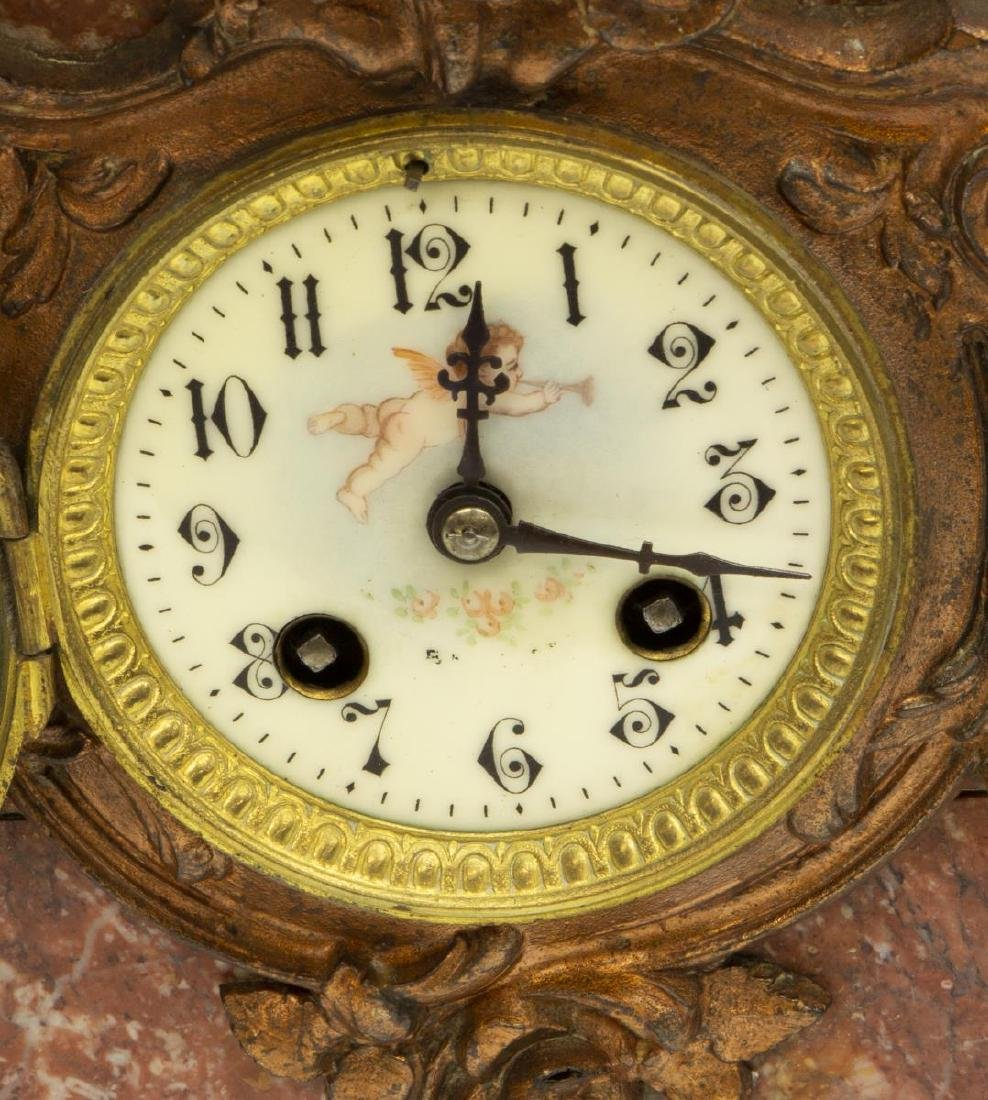 (3) FRENCH FIGURAL MARBLE MANTEL CLOCK SET - 3