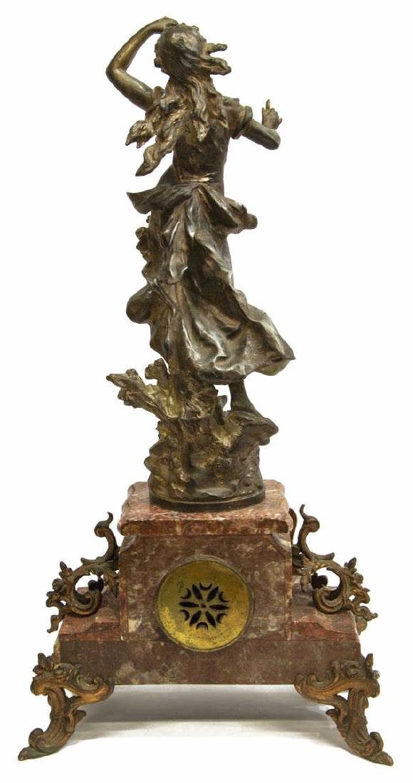 (3) FRENCH FIGURAL MARBLE MANTEL CLOCK SET - 4