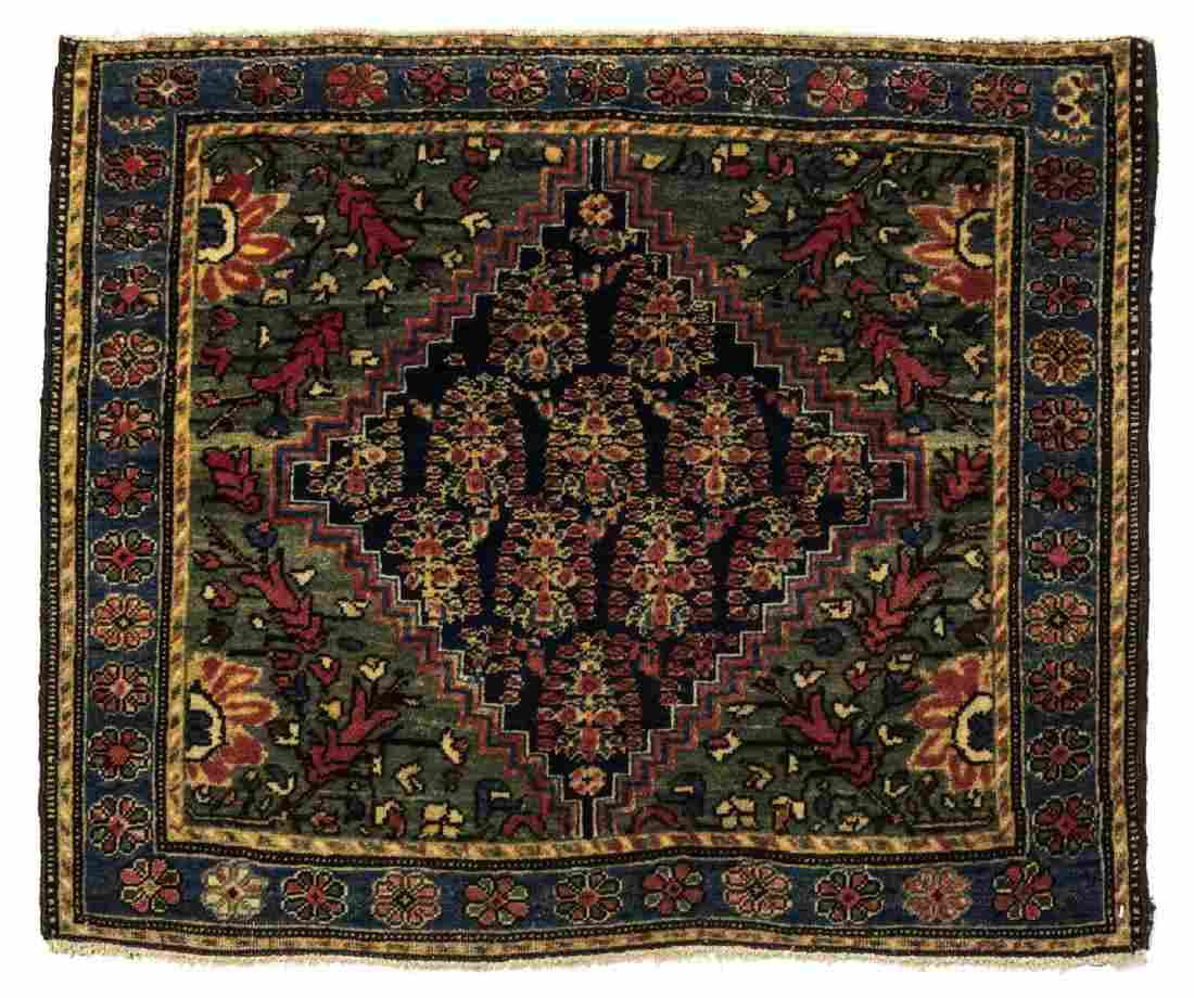"ANTIQUE PERSIAN HAND-TIED FERAGHAN RUG 2'5"" X 2'"