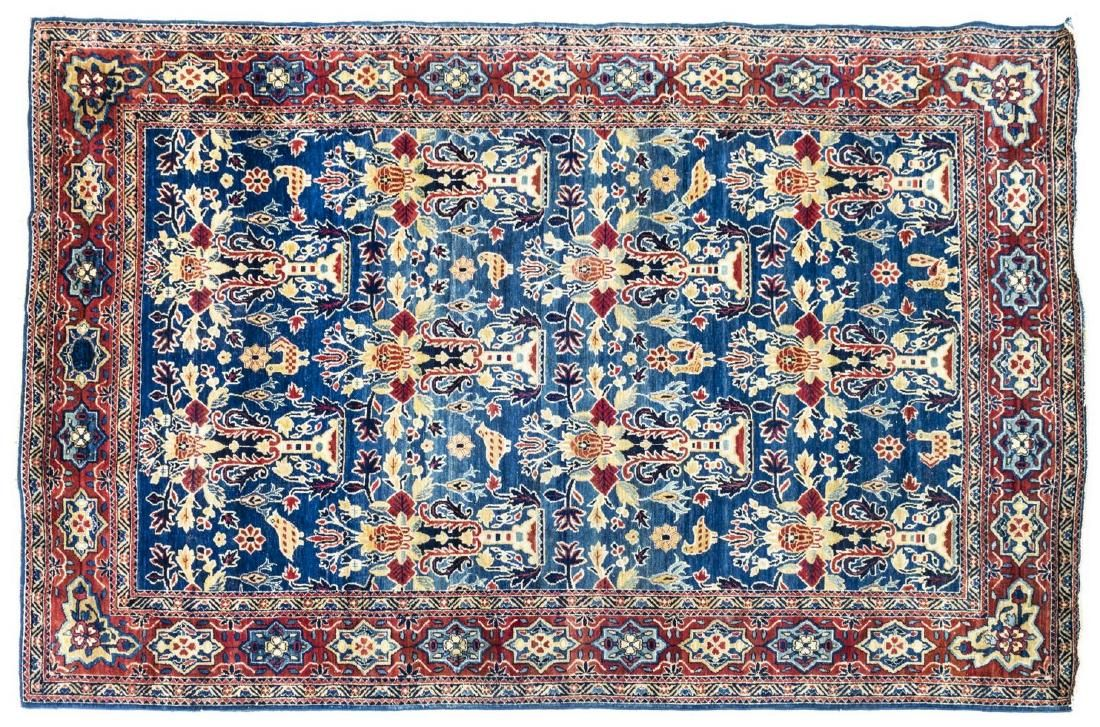 "ANTIQUE PERSIAN HAND-TIED KASHAN RUG 7'6"" X 4'8"""