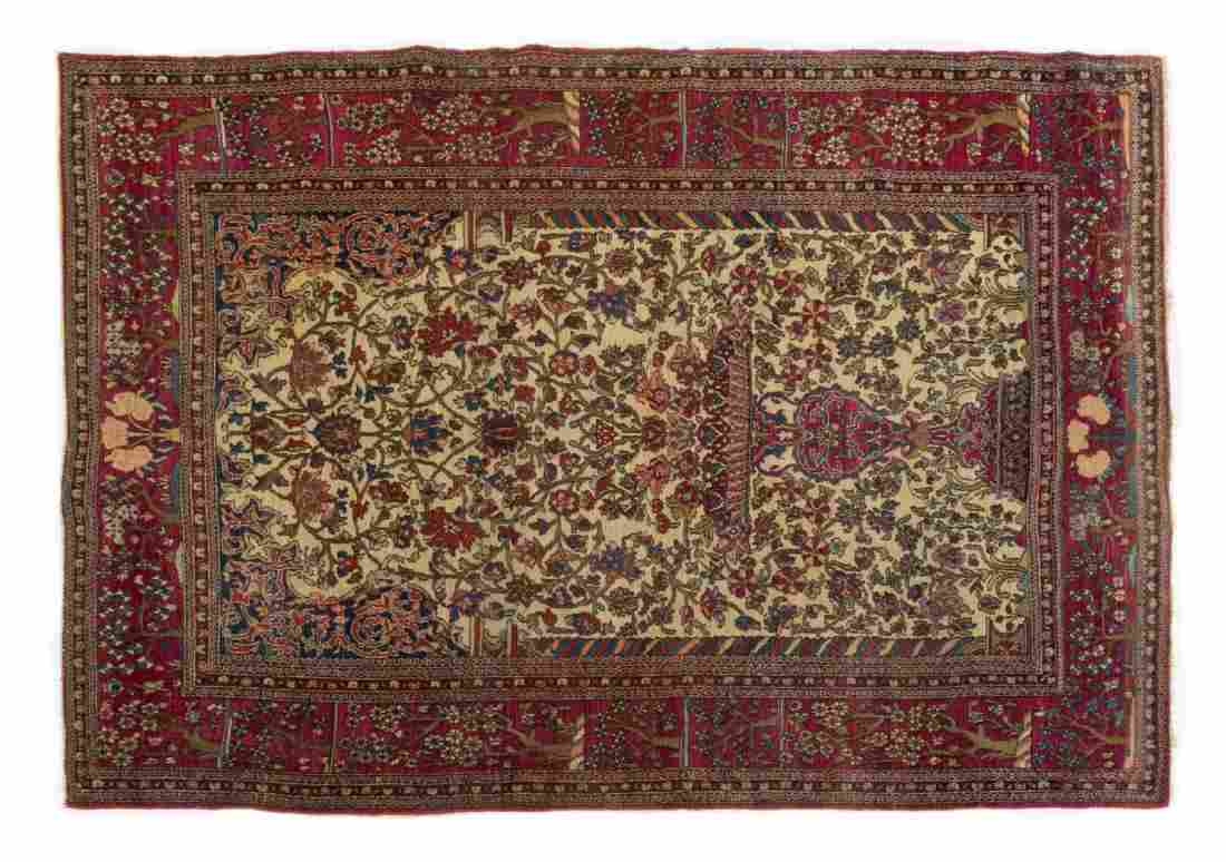 """ANTIQUE PERSIAN HAND-TIED ISFAHAN RUG 6'5"""" X 4'7"""""""