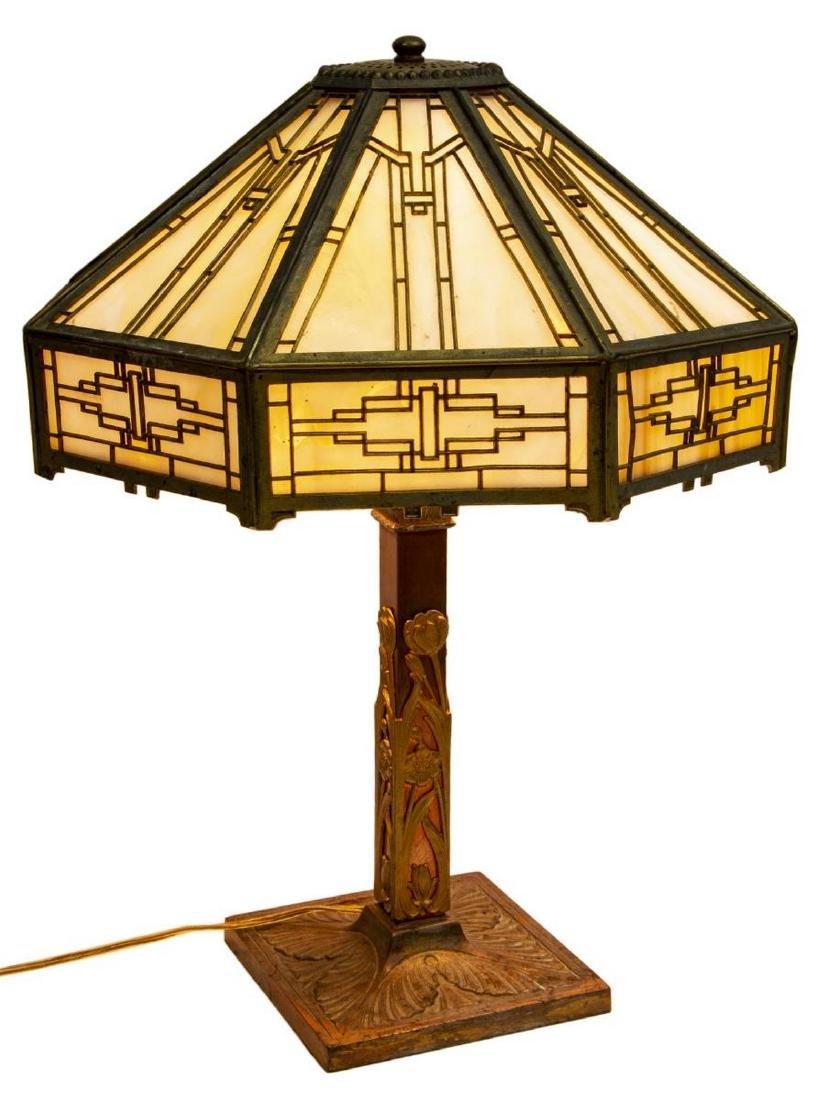 AMERICAN SLAG GLASS TWO-LIGHT TABLE LAMP