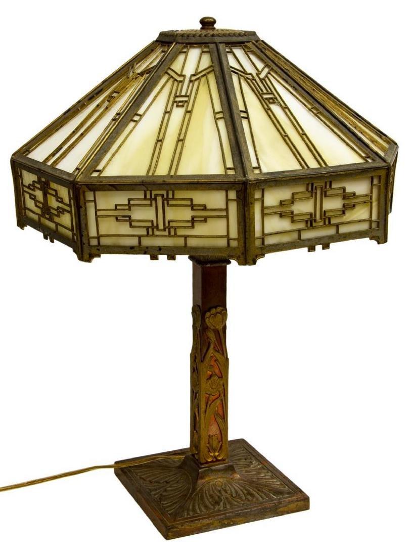 AMERICAN SLAG GLASS TWO-LIGHT TABLE LAMP - 2