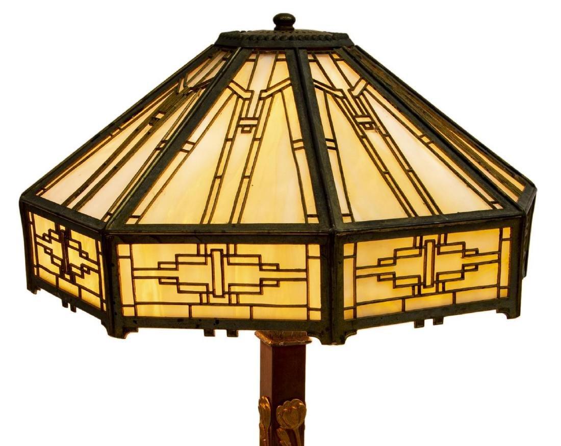 AMERICAN SLAG GLASS TWO-LIGHT TABLE LAMP - 3