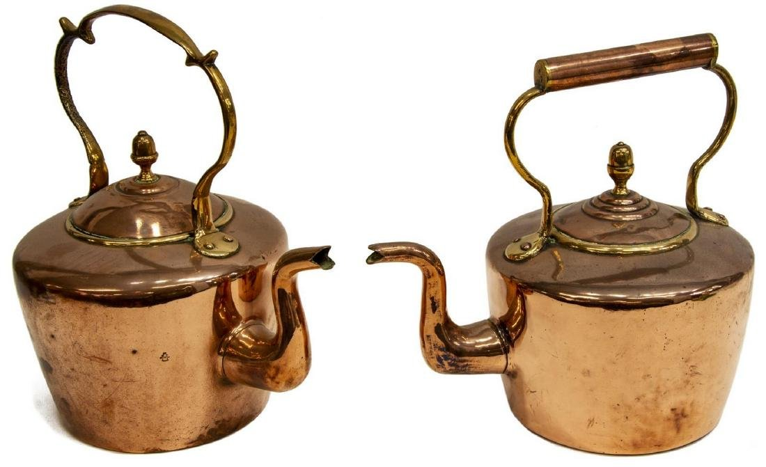 (2) LARGE 19THC. ENGLISH COPPER & BRASS KETTLES