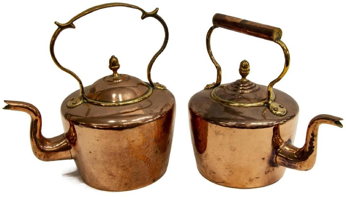 (2) LARGE 19THC. ENGLISH COPPER & BRASS KETTLES - 2