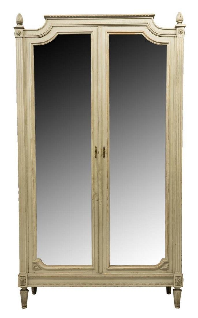 FRENCH LOUIS XVI STYLE PAINTED MIRRORED ARMOIRE - 2