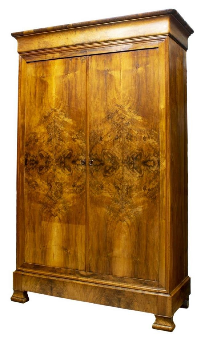 FRENCH LOUIS PHILIPPE BURLWOOD ARMOIRE