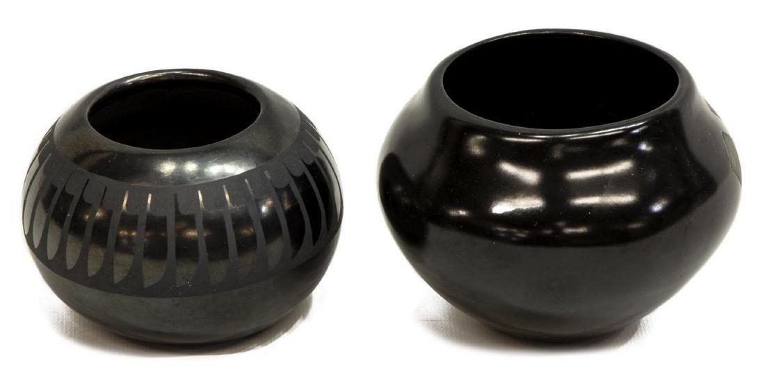 (2) BLACK ON BLACK PUEBLO POTTERY, ANITA PINO - 2