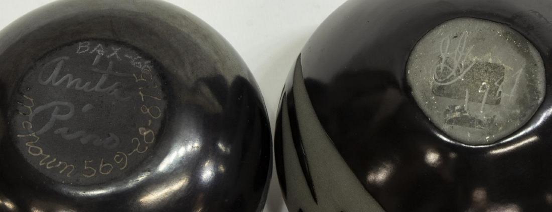 (2) BLACK ON BLACK PUEBLO POTTERY, ANITA PINO - 3