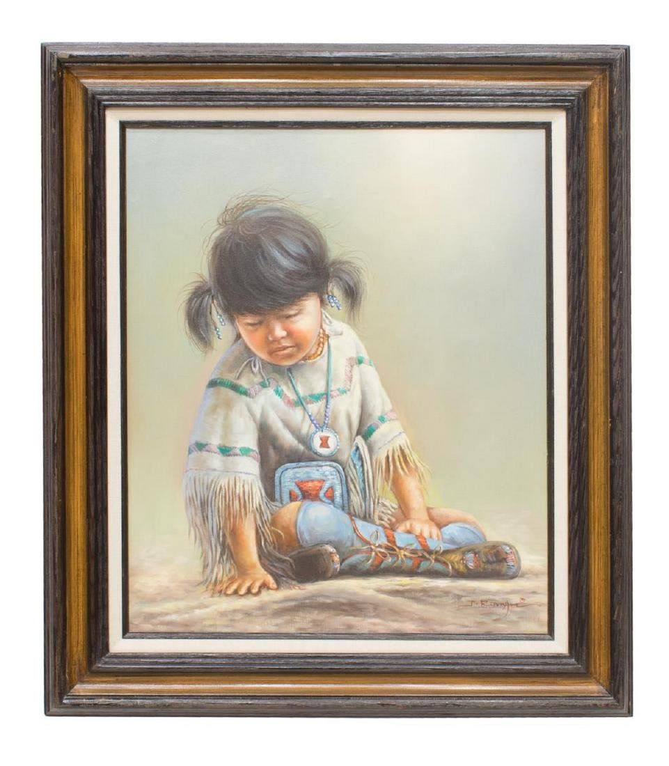 FRAMED OIL PAINTING NATIVE AMERICAN CHILD, SIGNED
