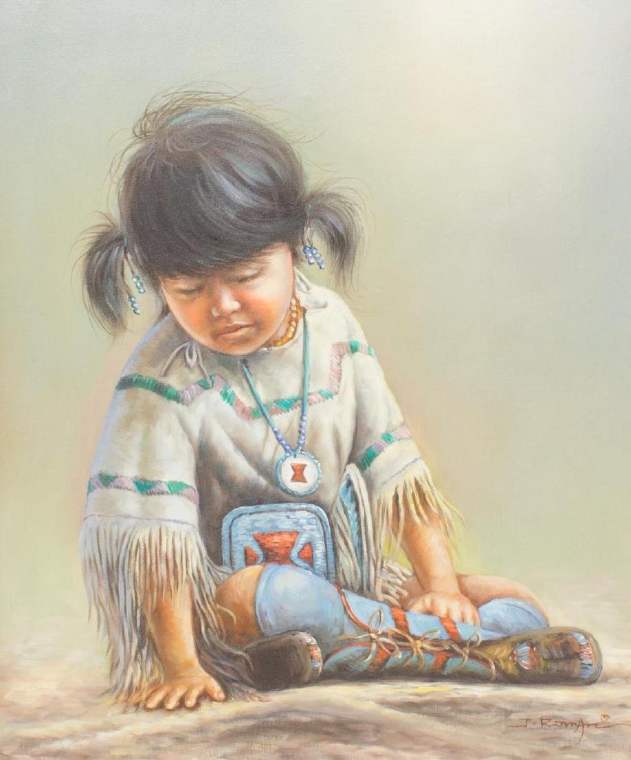 FRAMED OIL PAINTING NATIVE AMERICAN CHILD, SIGNED - 2