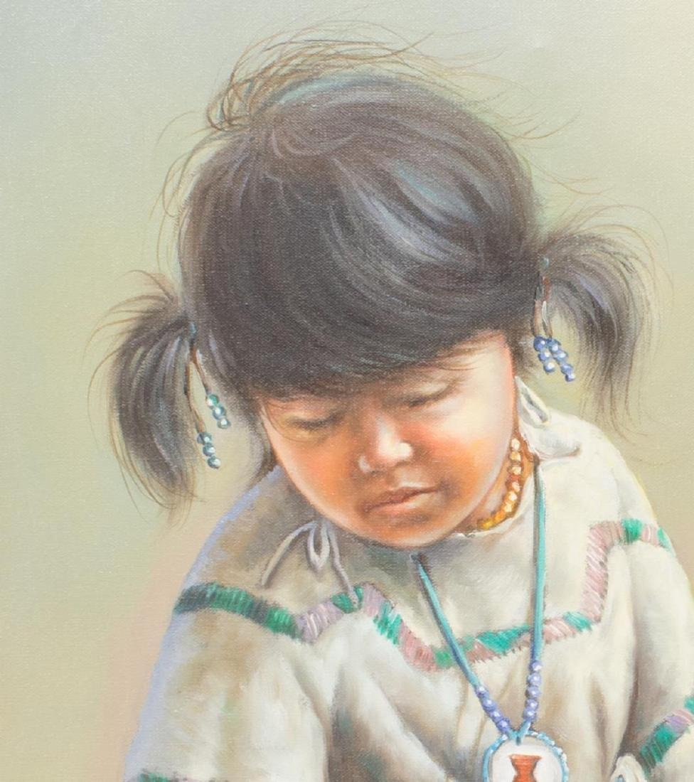 FRAMED OIL PAINTING NATIVE AMERICAN CHILD, SIGNED - 5