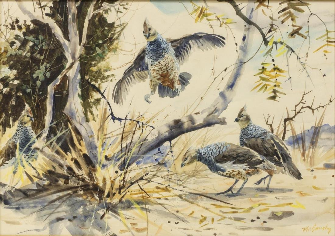 CLAY MCGAUGHY (B. 1931) BIRD WATERCOLOR PAINTING