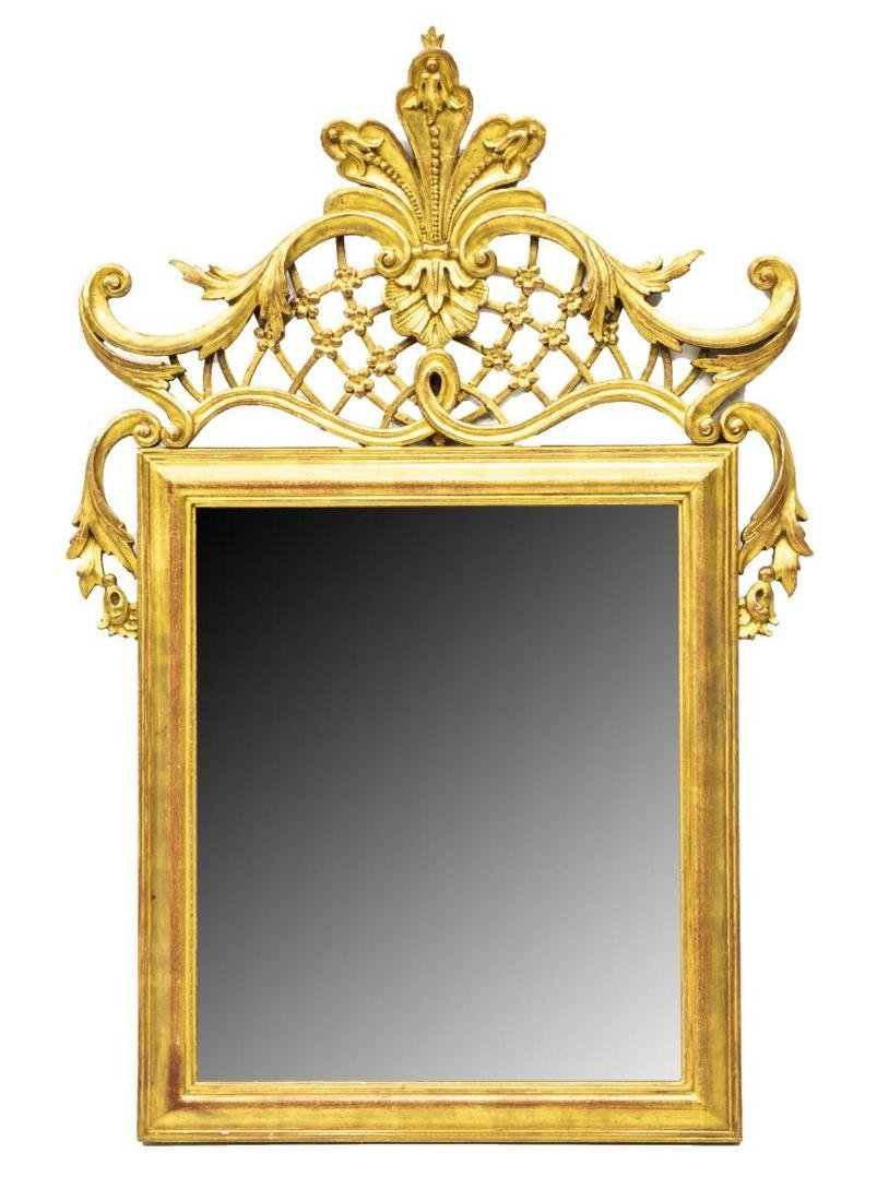 FRENCH LOUIS XV STYLE GILTWOOD WALL MIRROR