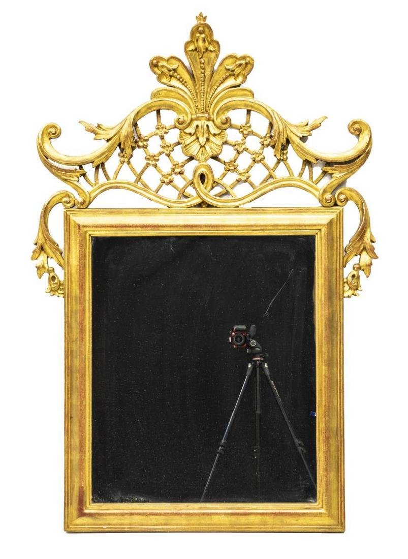 FRENCH LOUIS XV STYLE GILTWOOD WALL MIRROR - 2