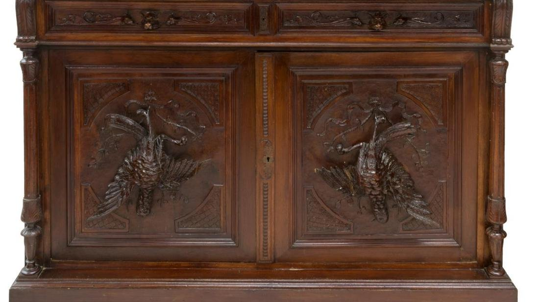 FRENCH MARBLE TOP HUNT BOARD, CARVED GAME BIRDS - 3