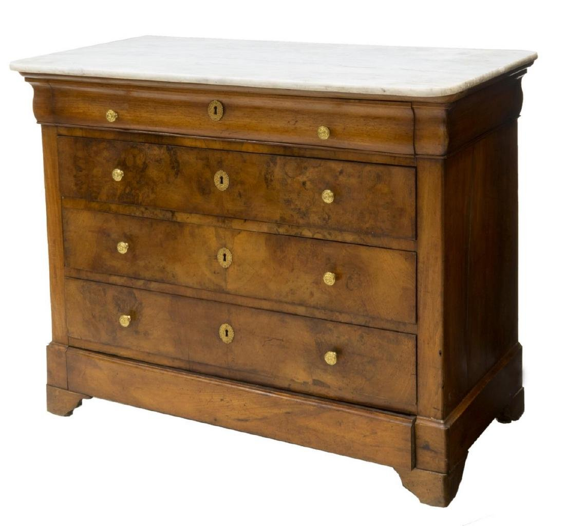 FRENCH LOUIS PHILIPPE MAHOGANY & MARBLE COMMODE