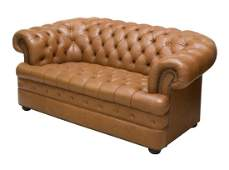ENGLISH CHESTERFIELD TUFTED BROWN LEATHER SOFA