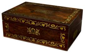 ENGLISH MAHOGANY BRASS INLAID WORK BOX / LAP DESK