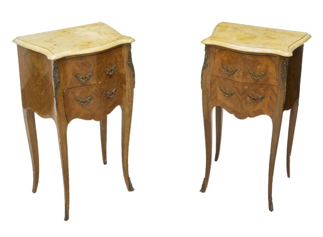 (2) LOUIS XV STYLE MARBLE TOP SIDE TABLES