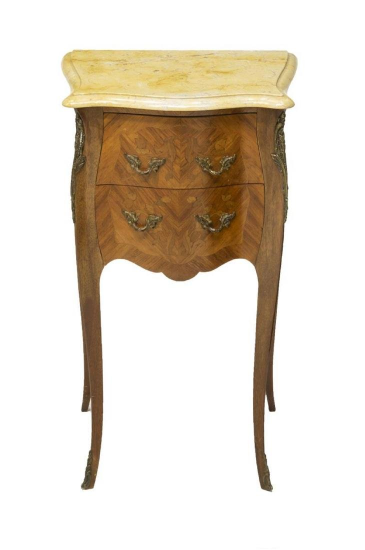 (2) LOUIS XV STYLE MARBLE TOP SIDE TABLES - 2