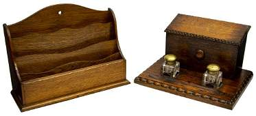 (2) ENGLISH OAK DESK STAND & INKWELL & LETTER BOX
