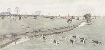 FRAMED CECIL ALDIN 18701935 FOX HUNT PRINT